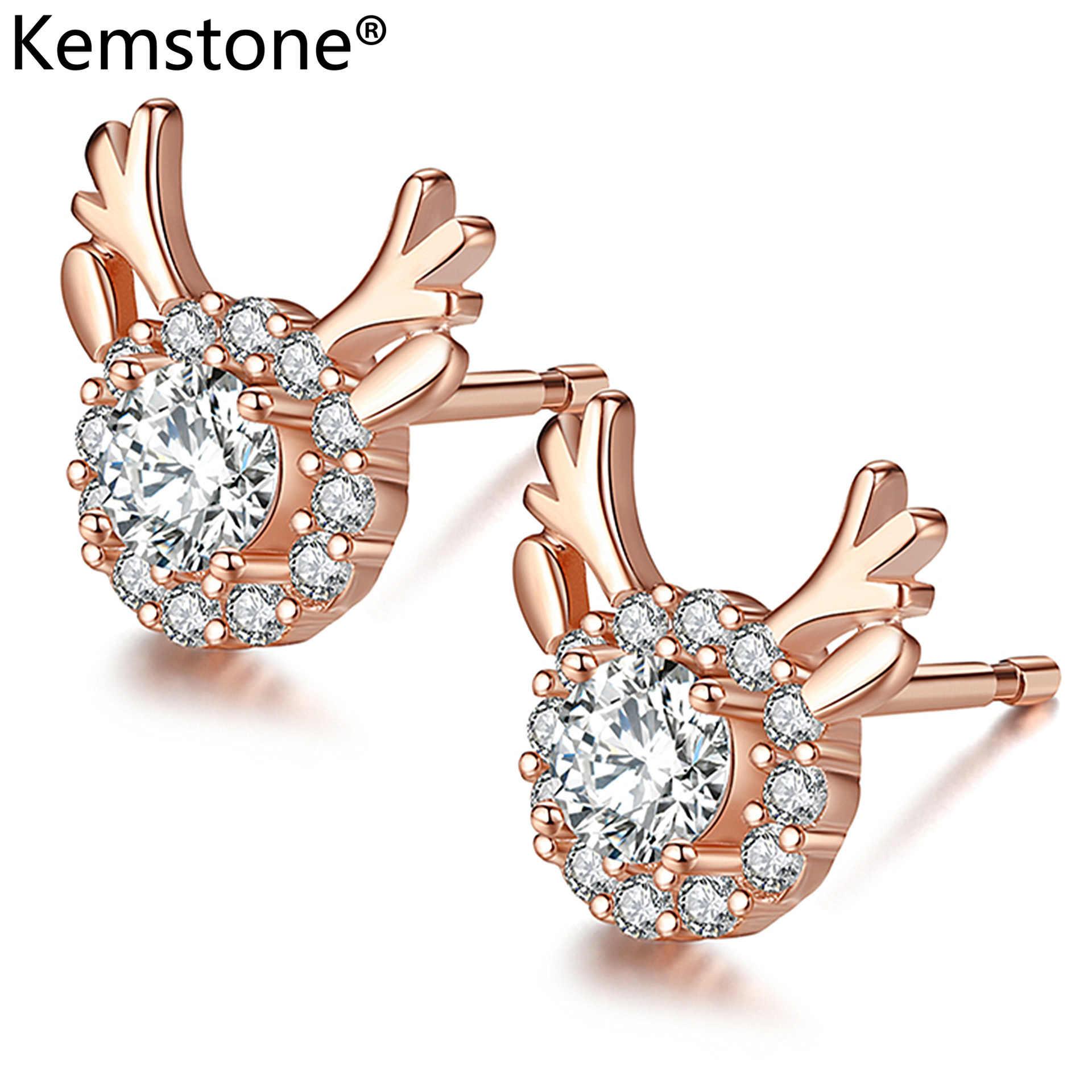 Kemstone ホット販売ジュエリーヒョウヘッドキツネ蜂スタッドピアス AAA Cz クリスタルイヤリング女性のギフト