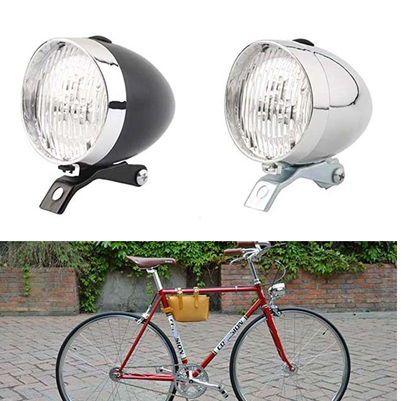 Retro Vintage Bicycle 3LED Front Light Headlight Safety Warning Night Light Bike Decoration Black Silver