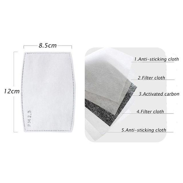 50Pcs/Lot 5 Layers Carbon Filter Face PM2.5 Anti Dust Mask Activated Insert Protective Filter Media Insert for Mouth Mask 2020 2