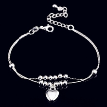 New Fashion Foot Anklet 925 Sterling Ladies Silver Anklets Bracelet Chain For Women Love Heart Pendant Pulseras Jewelry