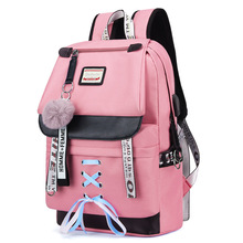 MYT_0220 Pink Oxford Backpack Women School Bags for Teenage Girls Preppy Style Large Capacity USB Back Pack Rucksack Youth