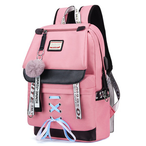 Image 1 - MYT_0220 Pink Oxford Backpack Women School Bags for Teenage Girls Preppy Style Large Capacity USB Back Pack Rucksack Youth