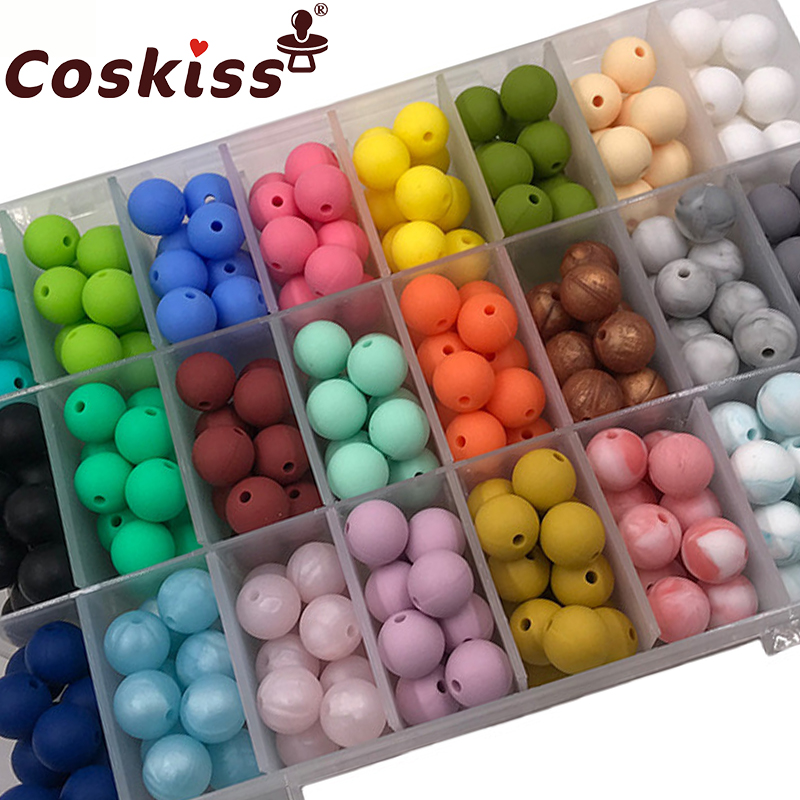 Coskiss Baby Teether DIY Silicone Beads Round Beads 19mm 20pc Teething Jewelry Food Grade Silicone Baby Teething Making Bracelet