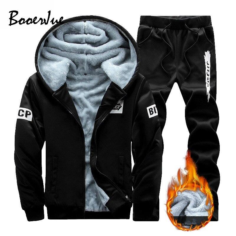 Tracksuit Men Winter Hoodies Men Fur Fleece Hoodies Men Jacket Men Casual Sweatshirts Mn Coat+Pant 2 PCS Moletom Masculino New