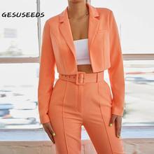 2020 New suit women vintage two piece set suit small notched