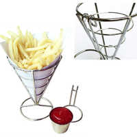 2PCS Snacks Fried Chicken Fries Foods Stand Holder French Fry Chips Fries Foods Holder Cone Metal Wire Basket with Sauce Dippers