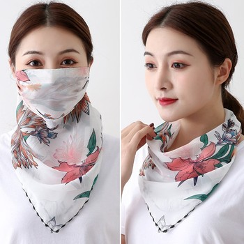 2pc Women Chiffon Face Cover Scarf For Summer Outdoor Riding Scarf