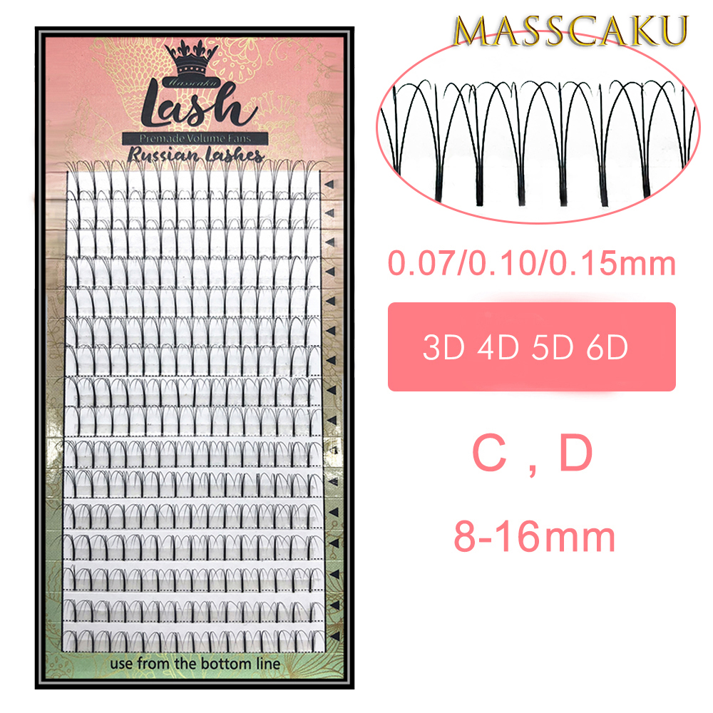 Heat Bonded Long Stem Pre Made Volume Fans 3d/4d/5d/6d Lashes Russian Volume Eyelash Extensions Premade Lash Extension
