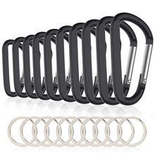 10PCS 3 дюйма/8 см Алюминий зажим-карабин премиум-класса прочный d-образное кольцо карабин с кольцом для ключей для дом на колесах походы, рыбалка, пеший туризм траве