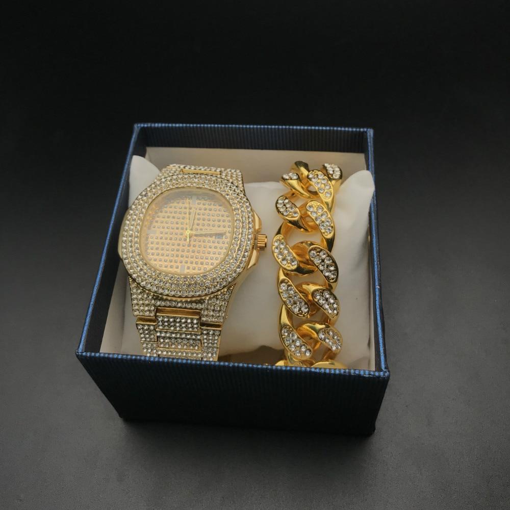 2cm Hip Hop Homens Pulseiras Cor De Ouro Iced Out Cristal Miami Cubano Corrente De Ouro Homens relógio de Prata + Pulseira conjunto de Hip Hop Rei Novo