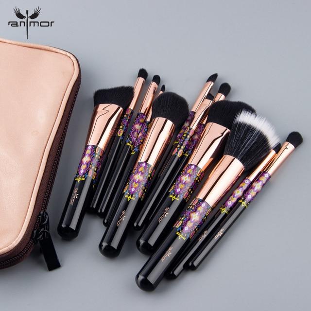 Anmor 12/8PCS Makeup Brushes Powder Foundation Blush Eye Shadow Concealer Eyeshadow Set Make Up Brush Tools Cosmetics Bag 2