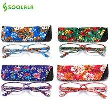SOOLALA очки для чтения с принтом и подходящим мешочком, прямоугольные очки для дальнозоркости с пружинным шарниром+ 1,0 1,5 1,75 до 4,0