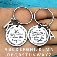 26 Initials Letter Engrave I love You Forever Metal Keychain Women Men Car Keyring Jewelry Graduate Birthday Gift Key Chain