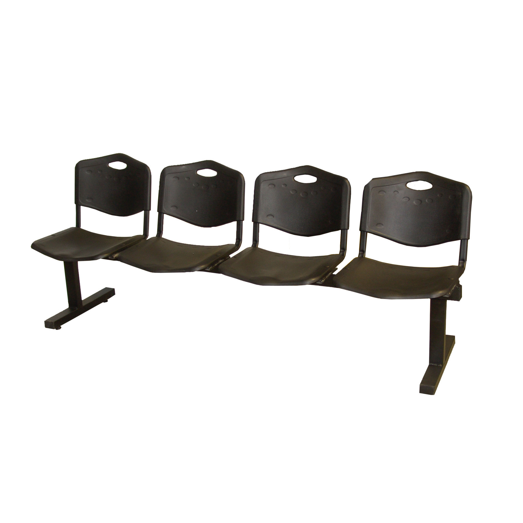 Bench Waiting From Four Squares And Iron's Structure In Black Color Up Seat And Backstop In PVC Black Color TAPHOLE