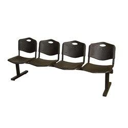 Ławka czeka z czterech kwadratów i żelaznej struktury w kolorze czarnym do siedzenia i oparcia w czarnym kolorze PVC w Zestawy do salonu od Meble na