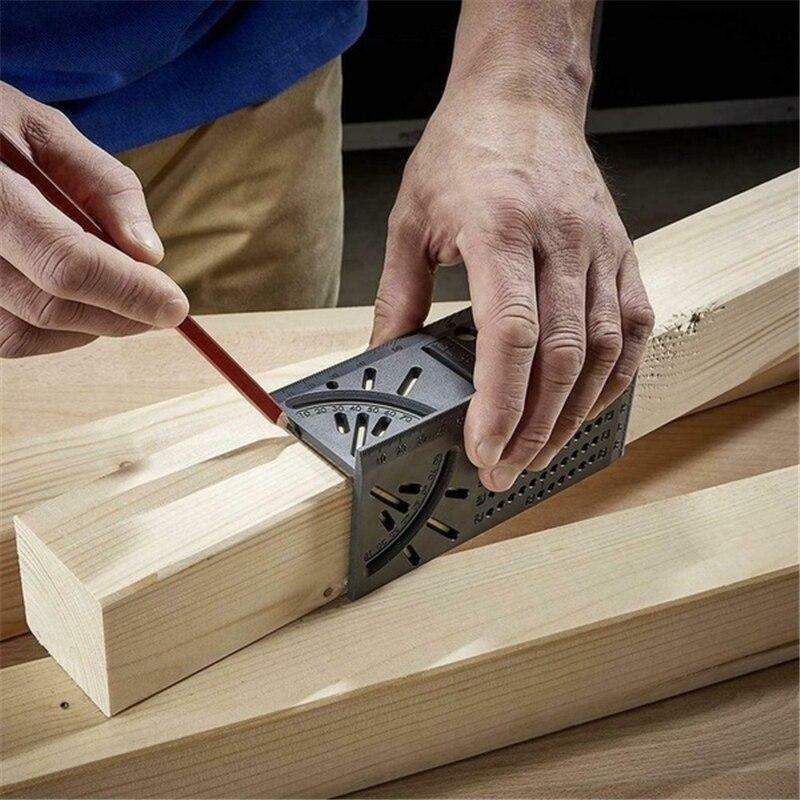 Régua de trabalho de madeira 3d mitra ângulo medidor medição tamanho quadrado ferramenta medida