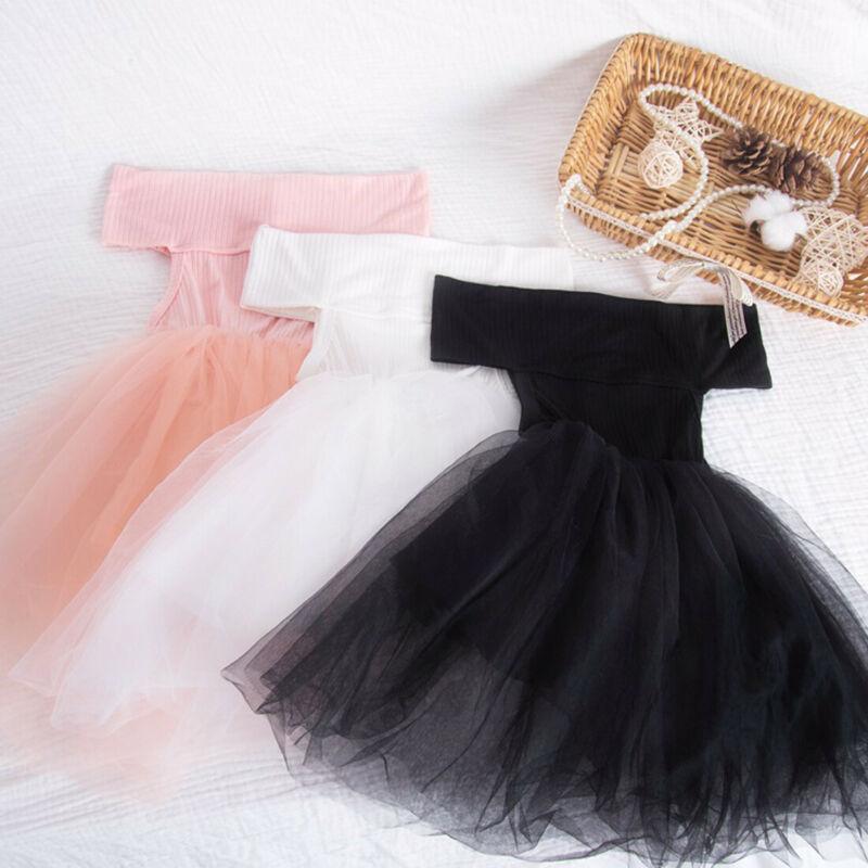 Princess Dress Pageant 2020 Newborn Baby Kids Girl Off Shoulder Tutu Mesh Dress Party Wedding Formal Dress Black White Pink