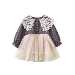Image 5 - 2019 秋の新到着韓国スタイル綿の格子縞の王女長袖レースの襟かわいいスウィートベイビー女の子