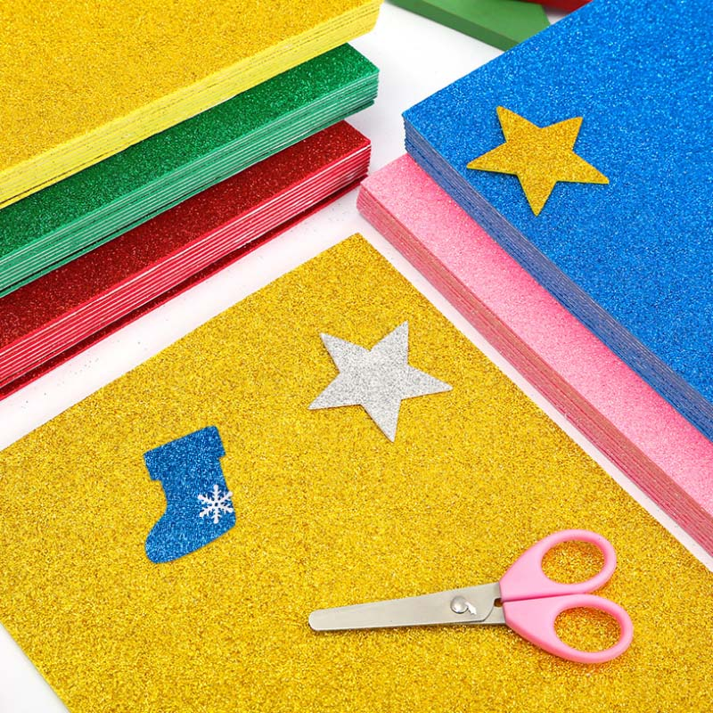 10pcs Self-Adhesive Sponge Paper Glitter Flash Gold Handcraft Foam Paper Sticker Sheets DIY Xmas Decoration