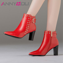 ANNYMOLI Real Leather Ankle Boots Women Buckle Chunky High Heel Short Boots Genuine Leather Rivets Zip Shoes Ladies Autumn Red red ankle boots studded rivets military boots designer shoes women luxury 2018 short combat cowboy boots womens buckle strap