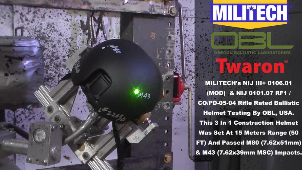 MILITECH FAST High Cut 3 In 1 Helmet NIJ 0101.06 III+ & NIJ 0101.07 RF1 NIJ 0106.01 (MOD) Compliant Test Video Presented By OBL