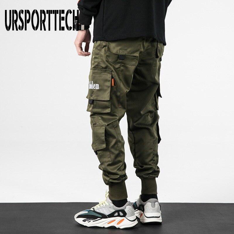 2020 Spring Hip Hop Joggers Men Harem Pants Multi-pocket Ribbons Man Sweatpants Streetwear Casual Mens Pants M-4XL