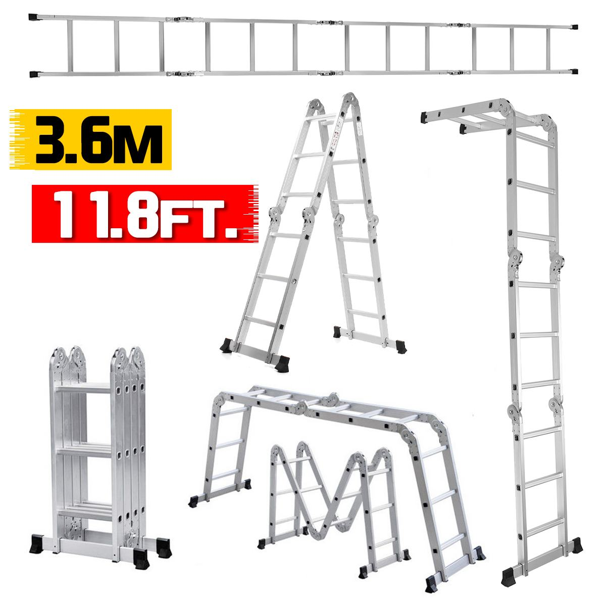 3.6m 12.5Ft Telescopic Ladder Folding Ladder Aluminum Extension Tall Ladder Multifunctional Single Extension Ladder Tool