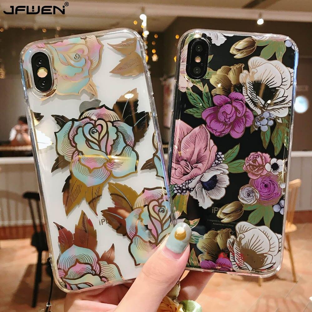 Capa de silicone para o iphone 11 pro xs max x 7 8 plus caso flor macia tpu casos de telefone para iphone xs max xr x 7 6 s mais capa