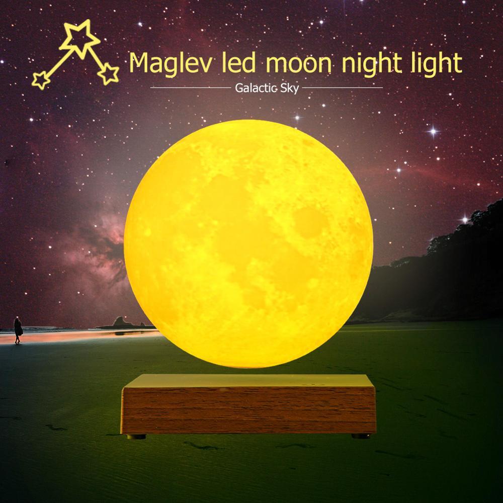 Levitazione Magnetica Ha Portato Luna di Notte Lampada Creativa di Controllo Touch 3D Stampa Illuminazione Decorativa di San Valentino Regalo di Compleanno