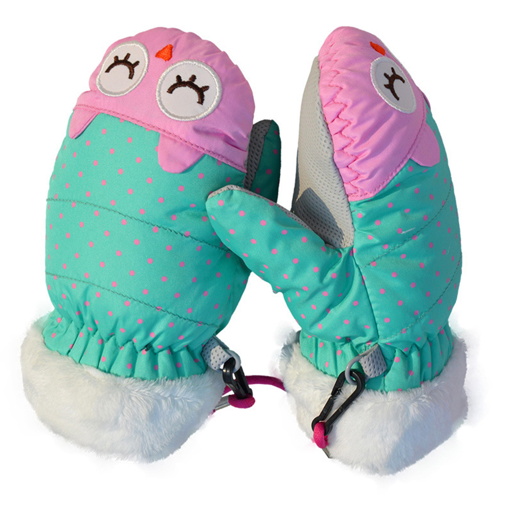 1 Pair Outdoor Anti-lost Cute Cartoon Non Slip Riding Waterproof Fabric Winter Warm Kids Girls Snow Mittens Children Ski Gloves