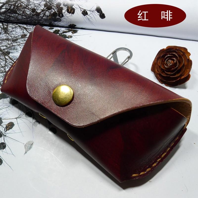 Blongk Handmade Genuine Leather Glasses Case On Belt Portable Glasses Box Small Belt Bag Mini Waist Pack Men Women YJd-2S