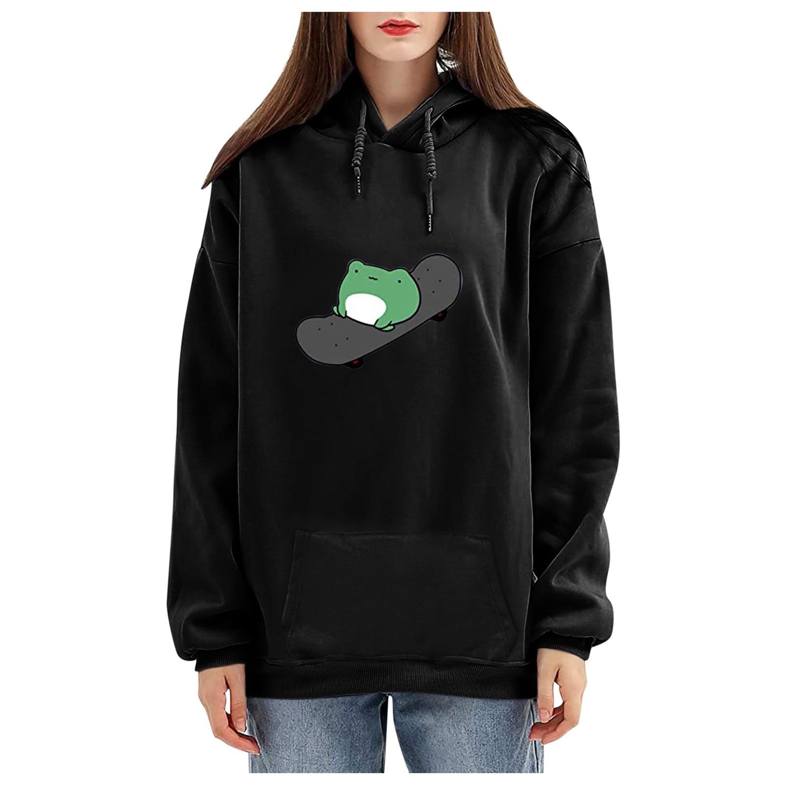 harajuku aesthetic bear anime hoodie women korean kawaii crewneck long sleeve oversized fall winter clothes kpop streetwear tops 15