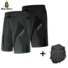 цена на Wolfbike Built-in Gel Pad Cycling Shorts Underwear Water Dirty Repellent Summer Breathable Downhill Bike Riding MTB Shorts Men
