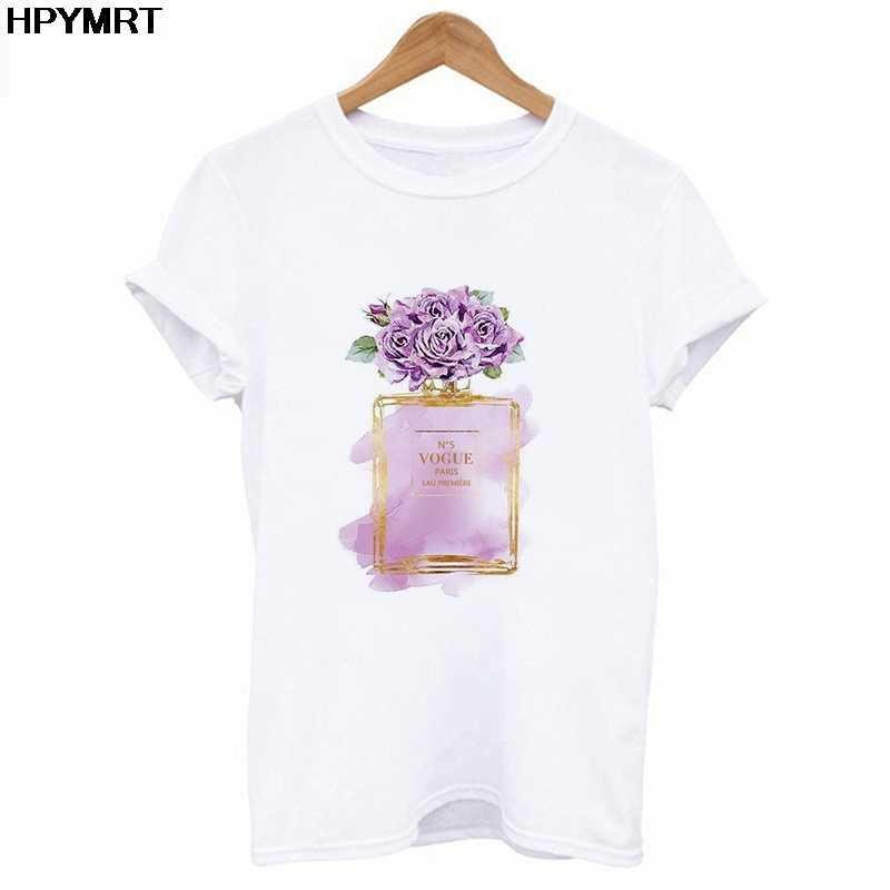 2020 뉴 여름 T 셔츠 여성 패션 향수 프린트 T 셔츠 하라주쿠 미학 티즈 여성 화이트 탑 T 셔츠 여성 의류