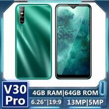 Telefones celulares originais v30 pro 4g ram 64g rom 6.26