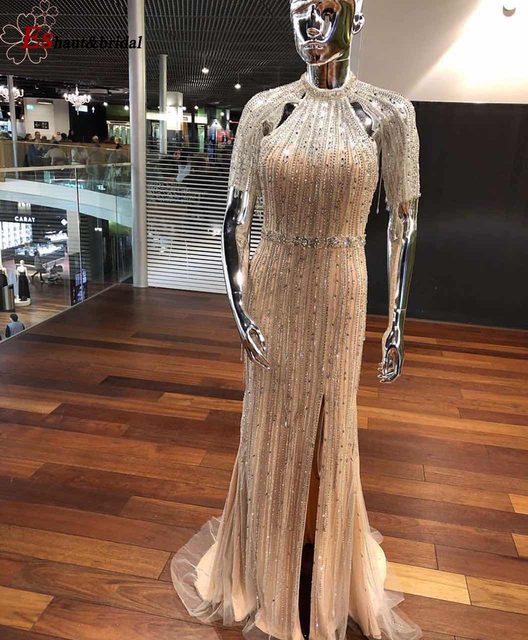 2020 High Neck Beads Handmade Evening Dress Short Sleeves Backless Luxury Formalm Party Gowns