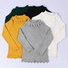 Funfeliz Baby Girl Sweater Ribbed Turtleneck for Girls 2019 Winter Tops Clothes Kids Cardigan Toddler Pullover 12M-5Y Black Grey