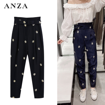 Za Women Casual Pants with Embroidery High Waist England Style Basic Loose Black Ankle-Length Pants