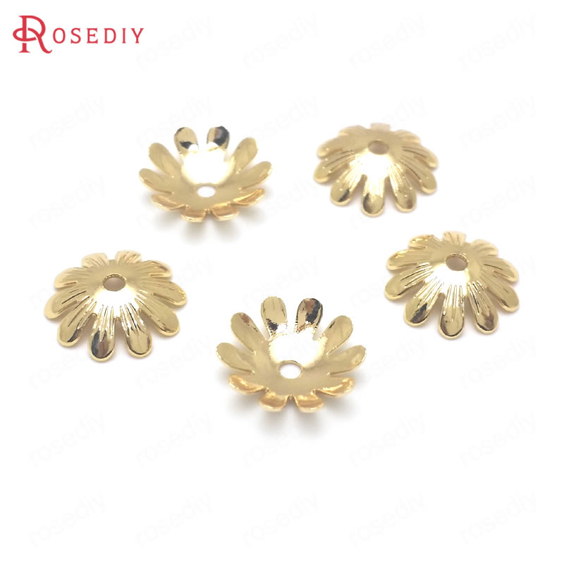 (36913)20PCS Diameter 10MM 24K Gold Color Plated Brass Flower Style Beads Caps High Quality Diy Jewelry Findings Accessories
