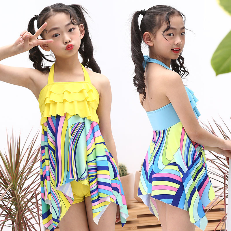 KID'S Swimwear GIRL'S Cute Students Irregular Long Skirts Pendulum Bikini Split Type 2019 Swimwear Hot Springs Tour Bathing Suit