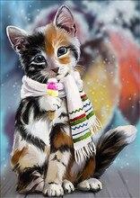 Diy Diamond Painting Cat Full Round Embroidery Cross Stitch  Mosaic Picture Rhinestone Christmas Decoration