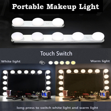 3/5 LED Bulbs Vanity Light USB Stepless Makeup Mirror Light Color Temperature Adjustable Hollywood Wall Lamp for Dressing Table