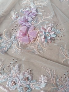Image 4 - Luxury \ Hand applied 3D flower Embroidery French Mesh African Lace Fabric High end Dress, Wedding Dress, Evening Dress Design