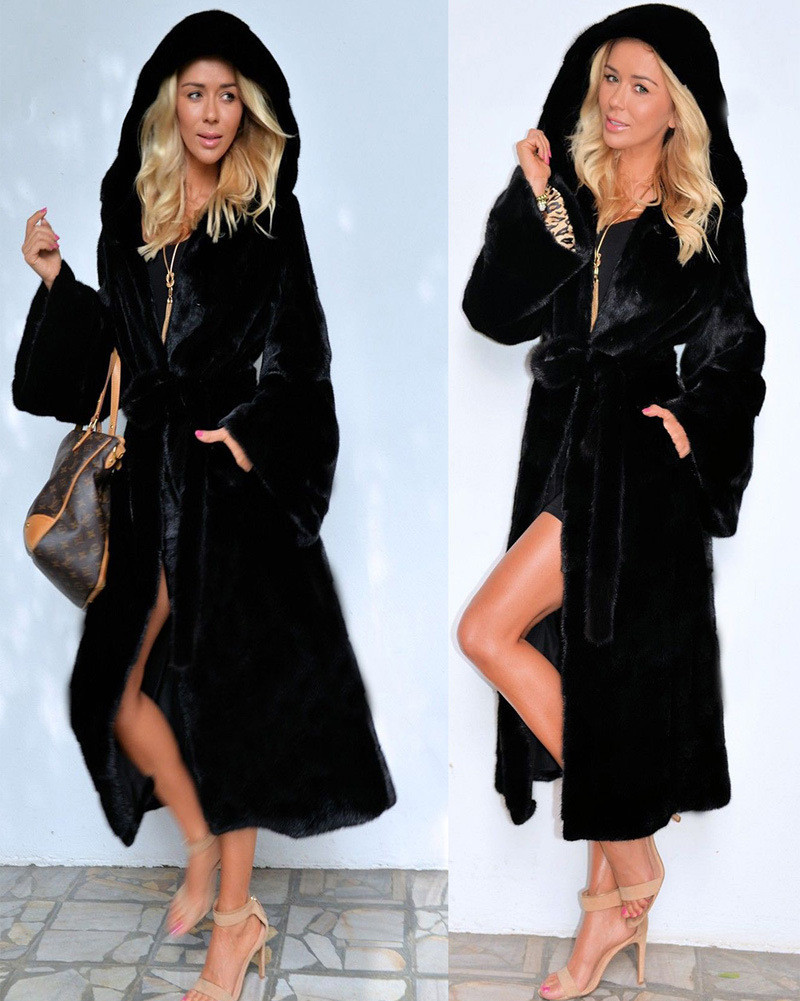 Image 4 - Black Hooded Faux Fur Coat Winter Women Long Faux Fox Fur Jacket  2018 Fashion Plus Size Coats Elegant Lady Warm Jackets Y27Faux Fur   -