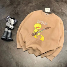 2020 new cute animal girls fashion trend guitar little yellow duck plus velvet sweater(China)