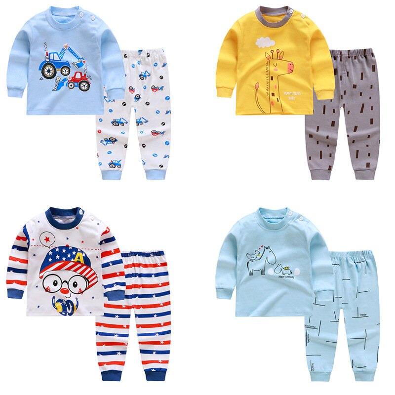 Детские пижамные комплекты, хлопковая одежда для сна для мальчиков, костюм из 2 предметов, пижама для девочек на весну и осень, пижама с длинн...
