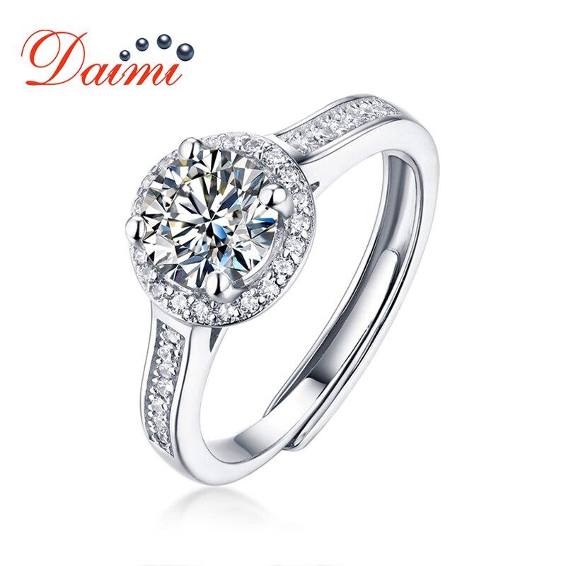 DAIMI Moisanite Diamond Ring 1 Carat D Color Luxury 925 Sterling Silver Rings For Women