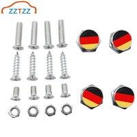 ZZTZZ 4 Teile/satz Chrom Metall Deutschland Flagge Logo Anti-diebstahl Auto Lizenz Platte Schrauben Rahmen Schrauben