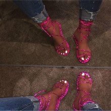 Summer 2019 Flat-soled Sandals For Women With Leopard-print Snake Shoes Gladiator Ankle Strap