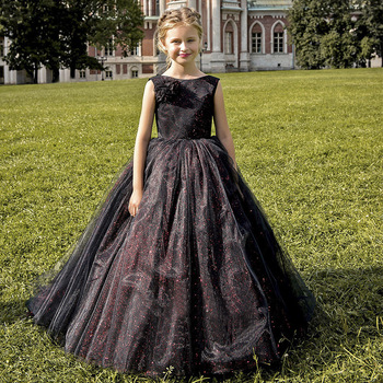 2020 Flower Girls Dress Kids First Communion Dresses Teenagers Long Tulle Black Ball Gowns  for Wedding Evening Party black ball gowns for kids floor length party dresses for girls 2 12 years vestidos tulle mesh flower girls dresses for wedding
